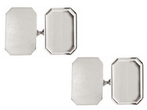Lined Edged Rectangle Cut Cufflinks Sterling Silver Chain Links